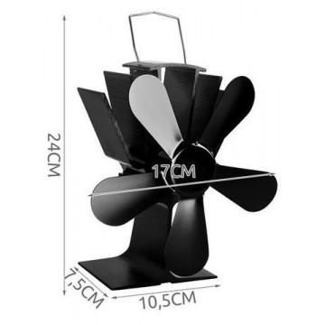 Karstuma izplūdes ventilators, 5 lāpstiņas, melns
